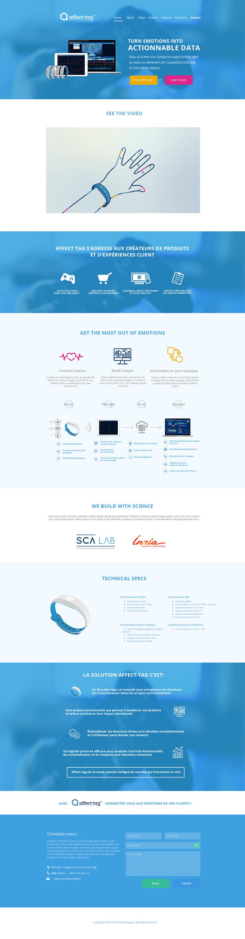 La maquette du site Affect-Tag